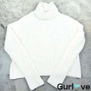 Free People White Chunky Knit Turtleneck Sweater